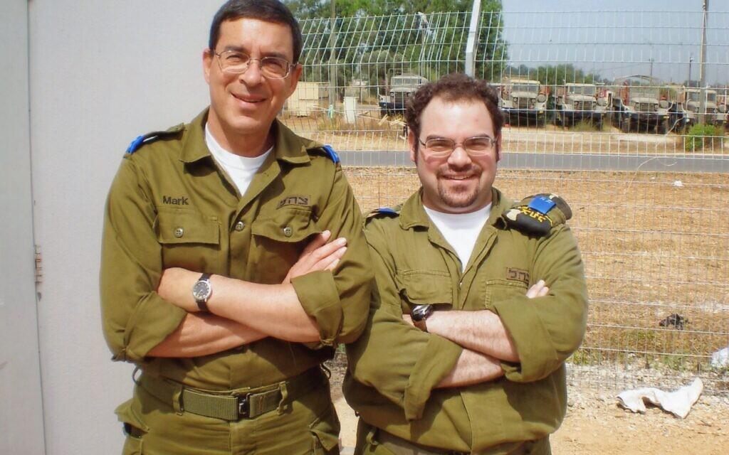 Mark Werner (left) and son David volunteering in Israel.