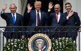 From left: Benjamin Netanyahu, Donald Trump, Abdullatif bin Rashid Al Zayani and Abdullah bin Zayed bin Sultan Al Nahyan wave from the Truman Balcony at the White House after the signing of the Abraham Accords. Photo: Saul Loeb/AFP