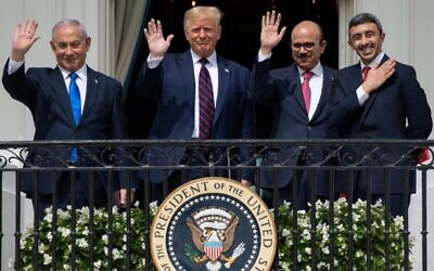 From left: Benjamin Netanyahu, Donald Trump, Abdullatif bin Rashid Al Zayani and Abdullah bin Zayed bin Sultan Al Nahyan wave from the Truman Balcony at the White House after the signing of the Abraham Accords. Photo: Saul Loeb/AFP