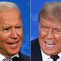 (FILES)(COMBO) In this file combination of pictures created on September 29, 2020 Democratic Presidential candidate and former US Vice President Joe Biden (L) and US President Donald Trump speak during the first presidential debate at the Case Western Reserve University and Cleveland Clinic in Cleveland, Ohio. - President Donald Trump will feature in a televised town hall October 15, 2020 on NBC News, the network said, setting up a direct scheduling clash with rival Joe Biden who had already planned his own version. The two were originally meant to have been meeting for their second debate on Thursday evening. Instead, they will be simultaneously, but separately, talking to voters in TV studios -- NBC for Trump and ABC for Biden. (Photos by JIM WATSON and SAUL LOEB / AFP)