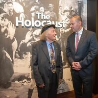 Survivor and teacher Andrew Steiner (left) with Treasurer Josh Frydenberg at the Adelaide Holocaust Museum. Photo: Facebook