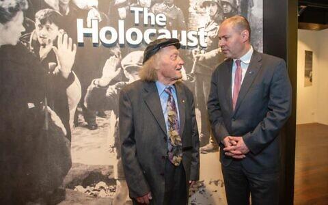 Survivor and teacher Andrew Steiner (left) with Treasurer Josh Frydenberg at the Adelaide Holocaust Museum. Photo: Facebook
