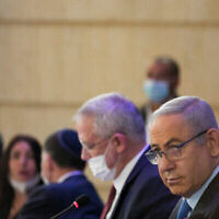 Israeli prime minister Benjamin Netanyahu and Alternate Prime Minister and Minister of Defense Benny Gantz at the weekly cabinet meeting, at the Ministry of Foreign Affairs in Jerusalem on June 28, 2020. Photo by Olivier Fitoussi/Flash90 *** Local Caption *** ישיבת ממשלה ראש הממשלה בנימין נתניהו ביבי בני גנץ שר הביטחון