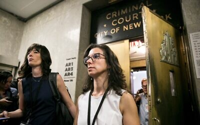 Jodi Kantor (right) and Megan Twohey leave the arraignment of Harvey Weinstein after he turned himself in on rape charges in  2018. Photo: Sam Hodgson/The New York Times