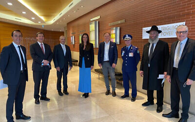 From left: Dave Sharma, Ron Hoenig, Vic Alhadeff, Woollahra mayor Susan Wynne, Waverley Councillor Leon Goltsman, Mick Willing, Rabbi Mendel Kastel, Jewish House president Roger Clifford.