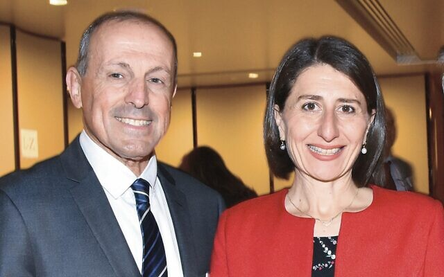 Vic Alhadeff with NSW Premier Gladys Berejiklian. Photo: Noel Kessel