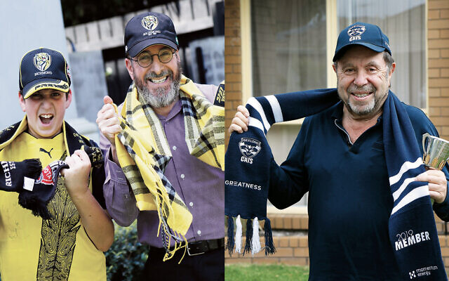 Diehard Richmond supporter Rafi Werdiger and his dad David (pictured left), and Willy Eckstein (pictured right), who proudly barracks for Geelong. Photos: Peter Haskin