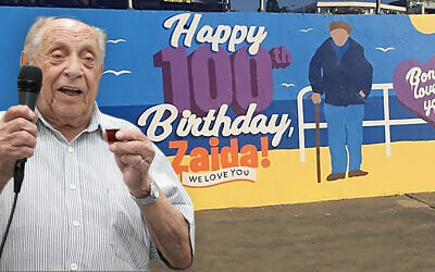 Front: Hersz Friedman enjoying a 100th birthday luncheon at COA in January. Back: The Bondi mural his family painted of him as a present.