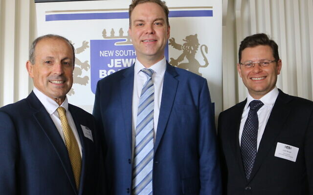 From left: NSW Jewish Board of Deputies CEO Vic Alhadeff, Greens MP Jamie Parker and JBOD president Lesli Berger.