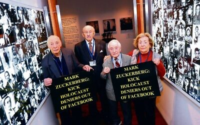Survivors at the Jewish Holocaust Centre in Melbourne protesting against Facebook in July 2018. From left: Joseph De Haan, David Prince, Abe Goldberg and Lusia Haberfeld. Photo: Peter Haskin