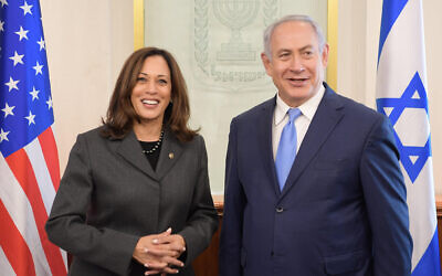 Kamala Harris (left) hosted by Benjamin Netanyahu in his Jerusalem office in 2017. Photo: Amos Ben Gershom/GPO