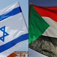 (COMBO) This combination of pictures created on October 23, 2020 shows (L to R) an Israeli flag during a rally in the coastal city of Tel Aviv on September 19, 2020; and a Sudanese flag during a gathering east of the capital Khartoum on June 3, 2020. - Sudan and Israel agreed on Otober 23 to normalise relations, in a US-brokered deal to end decades of hostility that was widely welcomed but stirred Palestinian anger. The announcement makes Sudan, technically at war with Israel since its 1948 foundation, the fifth Arab country to forge diplomatic relations with the Jewish state. (Photos by JACK GUEZ and ASHRAF SHAZLY / AFP)