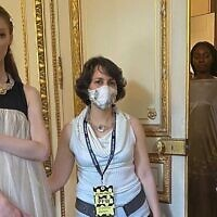 Zohar Edelshtein Budde with catwalk models at Paris Fashion Week.