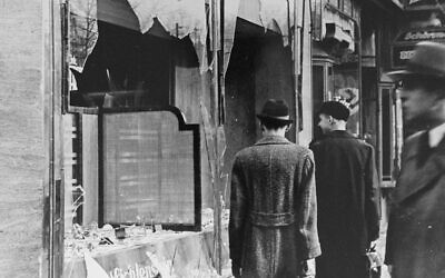 Windows of a Jewish business shattered on Kristallnacht.