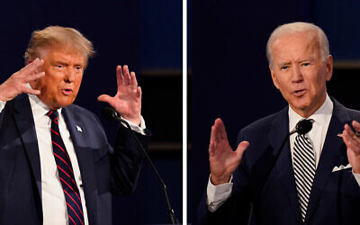 FILE - This combination of Sept. 29, 2020, file photos show President Donald Trump, left, and former Vice President Joe Biden during the first presidential debate at Case Western University and Cleveland Clinic, in Cleveland, Ohio. The Commission on Presidential Debates says the second Trump-Biden debate will be 'virtual' amid concerns about the president's COVID-19. (AP Photo/Patrick Semansky, File)