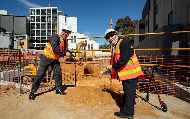 Josh Frydenberg (left) and Abe Goldberg symbolically turn the first sods on the construction of the new Holocaust Museum. Photo: Sav Schulman