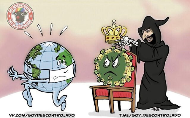 An antisemitic cartoon depicting the Grim Reaper as a Jew using the virus to control the world.