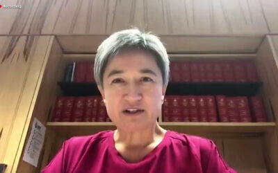 Penny Wong addressing the ZFA Biennial Conference. Photo: Screenshot