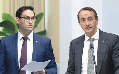 Josh Burns (left) and Dave Sharma speaking in Parliament on Monday. Photos: Screenshot