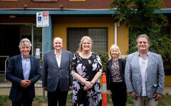 Outside the soon-to-be reconstructed Kadimah Centre, from left, Barry Fradkin, John Gandel, Ros Spence, Glen Eira mayor Margaret Esakoff, and Ben Mand. Photo: Ben Weinstein