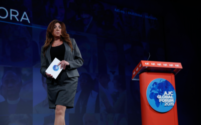 Houda Nonoo addressing the AJC Global Forum, 2019.
