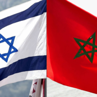 The flags of Israel and Morocco.