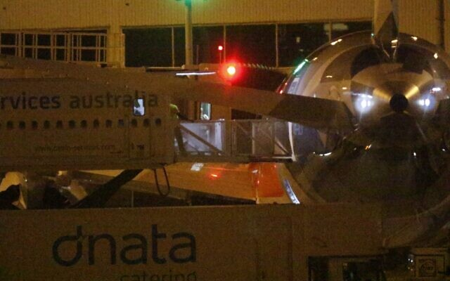 A glimpse of Malka Leifer disembarking at Melbourne Airport on Wednesday night. Photo: Peter Haskin