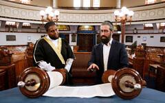 Rabbi Yaakov Glasman meets with Imam Saeed Wasama Bulhan at St Kilda Shule. Photo: Peter Haskin