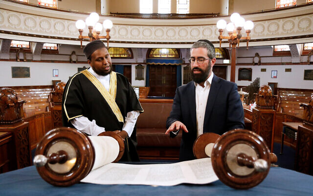 Rabbi Yaakov Glasman meets with Imam Saeed Wasama Bulhan at St Kilda Shule. Photo: Peter Haskin