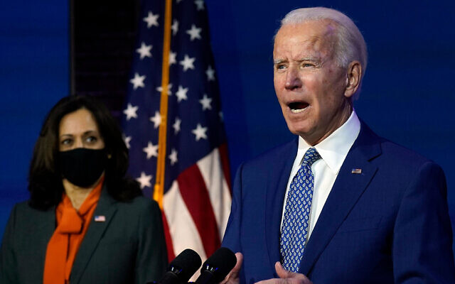 Joe Biden, joined by Kamala Harris, speaks on November 9, 2020, in Wilmington, Delaware. Photo: AP Photo/Carolyn Kaster