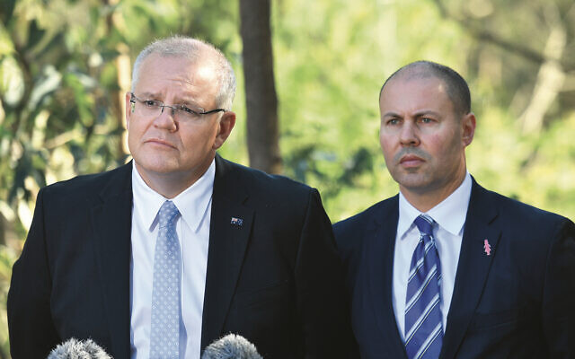 Prime Minister Scott Morrison and Treasurer Josh Frydenberg at a press conference at Studley Park in Kew,Melbourne, Friday, May 3, 2019. Photo: AAP Image/Mick Tsikas