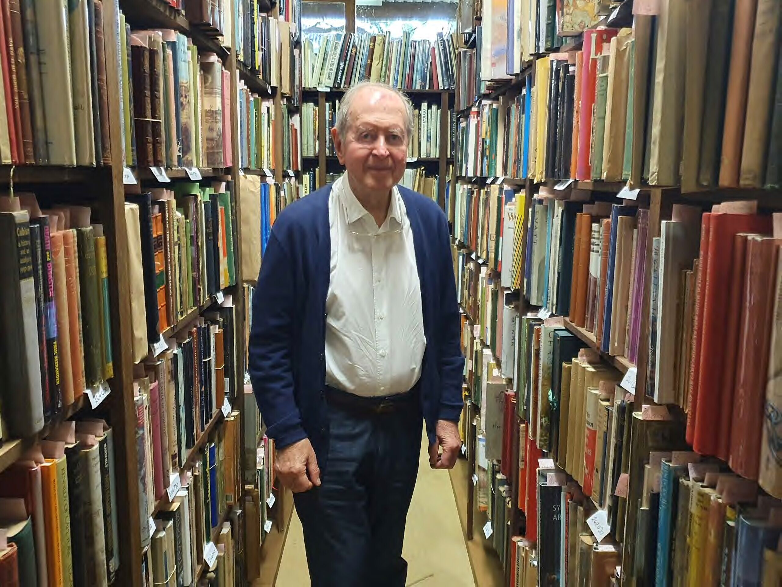 Leo Berkelouw among rare and collectible books at the Bendooley Estate. Photo: Sophie Deutsch