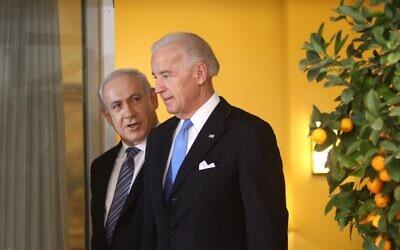 Israeli Prime Minister Benjamin Netanyahu, left, and then-US vice president Joe Biden, in Jerusalem on March 9, 2010. (Emil Salman/Pool/Flash90)