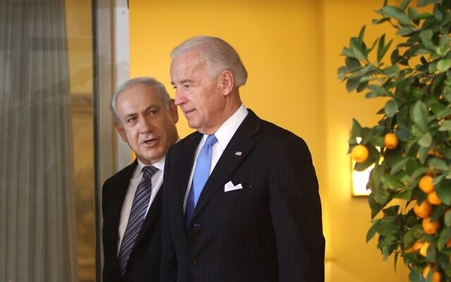 Israeli Prime Minister Benjamin Netanyahu, left, and then-US vice president Joe Biden, in Jerusalem on March 9, 2010. (Emil Salman/Pool/Flash90)