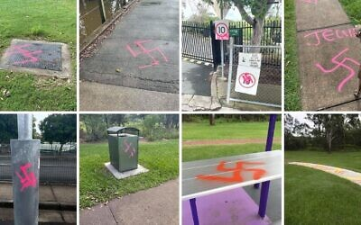 Swastikas sprayed around Logan.