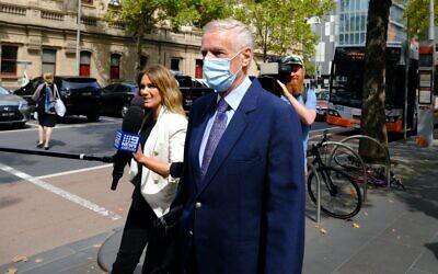 Neil Lennie leaving the County Court of Victoria on Thursday. Photo: AAP Image/Luis Ascui