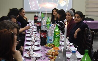 Jewish women attend a kosher lunch at the Ashkenazi synagogue in Baku. Photo: Larry Luxner