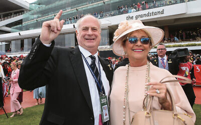 Michael Gudinski and his wife Sue celebrate after Almandin won the Emirates Melbourne Cup in 2016. Photo: Pat Scala/Racing Photos via Getty Images