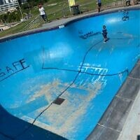 The swastika daubed on the skatepark in Bondi.