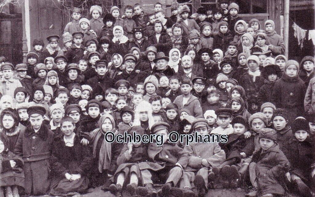 Isaac Ochberg (centre) with his rescued orphans in 1921 in Eastern Europe before leaving for South Africa.