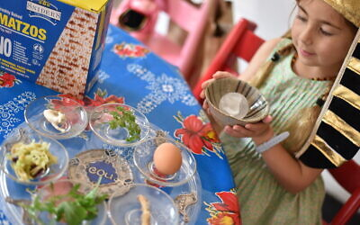 Five-year-old Mira Feldman brings a block of ice to the seder table. Photo: Zoe Arnott