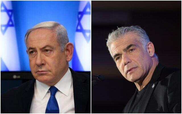 Benjamin Netanyahu and Yair Lapid. Photos: Miriam Alster/Flash90
