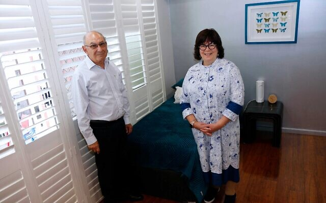 Raizel Fogel and Professor  Samuel Menahem in the purpose-built room for new mothers. Photo: Peter Haskin