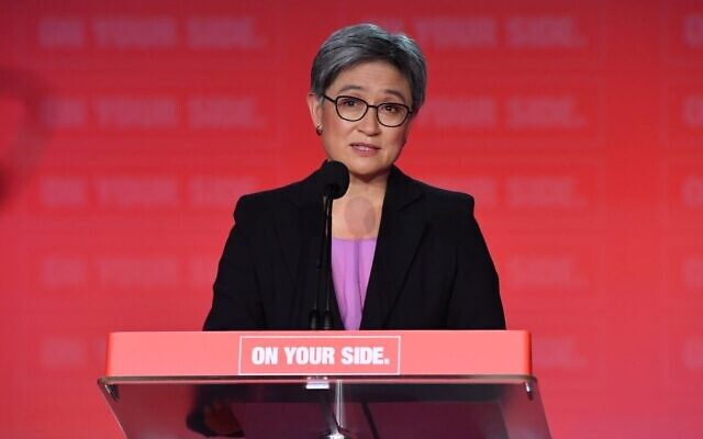 Penny Wong addressing the ALP National Conference last month. Photo: AAP Image/Mick Tsikas