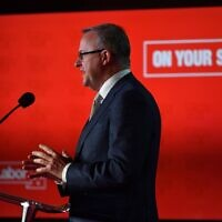 ALP leader Anthony Albanese addressing the ALP conference on Tuesday. Photo: AAP Image/Mick Tsikas