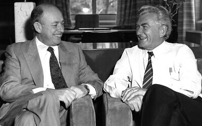 Isi Leibler with then-prime minister Bob Hawke, who supported Leibler's campaign to free Soviet Jews during the 1980s.