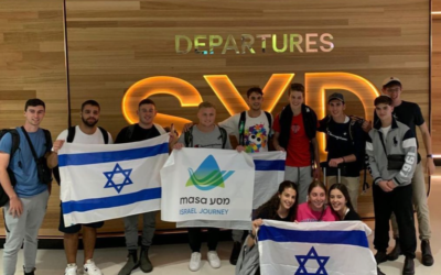 Bnei Akiva Shnat participants at Sydney Airport on Tuesday night.