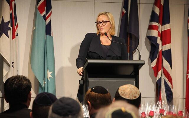 Coogee MP Dr Marjorie O'Neill speaking at the Jewish Anzac Day Service last Sunday. Photo: Shane Desiatnik
