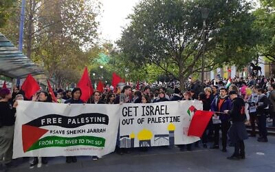 Protesters at the Melbourne rally.