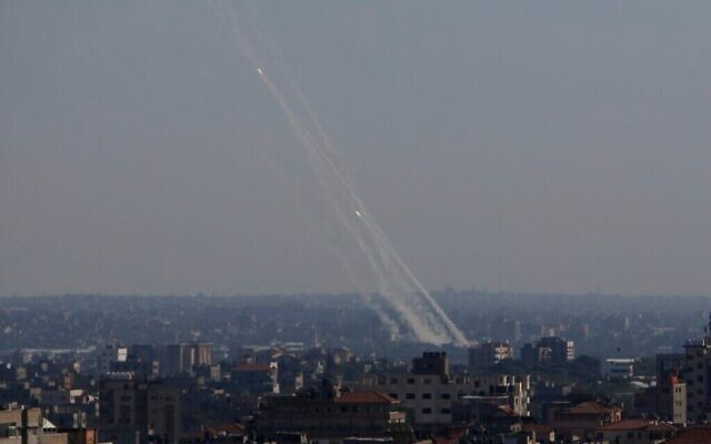 Rockets are launched from Gaza Strip to Israel, Friday, May 14, 2021. (AP Photo/Hatem Moussa)